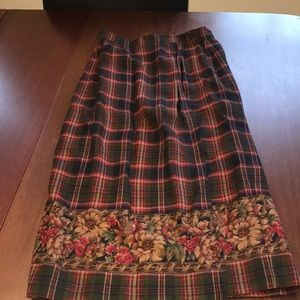 Talbots fully lined plaid and floral print skirt